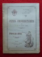 LILLE PROGRAMME FETES UNIVERSITAIRES 1895 - Programs