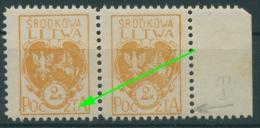 Mittellitauen 22 A Postfrisch Plattenfehler 22 A PF Postfrisch (R7052) - Lithuania