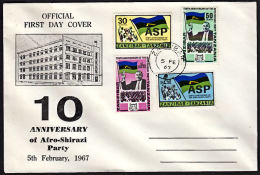 B0195 ZANZIBAR 1967, SG 477-80 10th Anniv. Afro-Shirazi (ASP) Party,  FDC - Zanzibar (1963-1968)