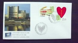 UNO-Wien 766/7 FDC, Wiener-Cachet, Freimarken, Menschen In Handfläche, Menschen In Herz - Centre International De Vienne