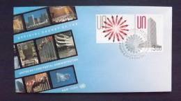 UNO-New York 1334/5 FDC, NYHQ-Cachet, Freimarken: Menschen Bilden Blüte, Menschen In UNO-Hauptquartier - New-York - Siège De L'ONU