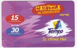 Moldova  , Voxtell , 2004 , Tempo , Telecarte ,15/30  Minuts ;  Prepaid , Tip I , Telephone Card , Plastic , Used - Telecom Operators