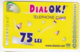 Moldova  , Liderfone , DIALOK ,  Telephone Cards  , 75 Lei   ; Tip I ,  RARE , Plastic , Used - Telecom