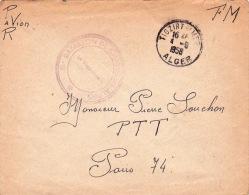 """Franchise """" 15è BATAILLON DE CHASSEURS ALPINS """" + CàD TIGZIRT S/MER 4/9/56 ALGER """" Sur Lettre FM  - BCA Algérie - Algeria (1924-1962)"""