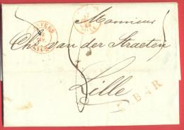 _5i-972: Volledige Brief: ANVERS  16 FEV. 1842+ L.. B.4 R. + FRANCE LILLE 17 FEVR 42 > Lille +8 [decieme] +LILLE (57) 17 - 1830-1849 (Belgique Indépendante)