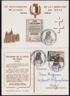 2 Cartes De XX E Anniversaire De La Liberation De La Ville De Metz, Oblitere De 28.-29. Nov. 1964 In Metz - Covers & Documents