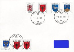Latvia Lettland Lettonie 2006 - Reprint - Coat Of Arms - Kurzeme, Auce, Zemgale, Smiltene (addressed FDC) - Latvia