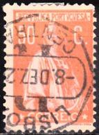 PORTUGAL - 1912,  Ceres, 50 C.  Pap. Porc. Col. Esp., Laranja  S/ Salmão   D. 12x11 1/2    (o)  Afinsa  Nº 219 - Usado