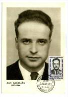 CARTE MAXIMUM / FRANCE N°1157 /  JEAN CAVAILLES / SAINT MAIXENT L ECOLE / HEROS DE LA RESISTANCE / WWII  / GUERRE 39-45 - Célébrités