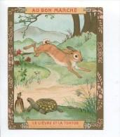 AU BON MARCHE TRES BELLE CHROMO GRAND FORMAT DOREE FABLE LA FONTAINE TEXTE AU DOS GOOSSENS LIEVRE TORTUE GRILLON - Au Bon Marché