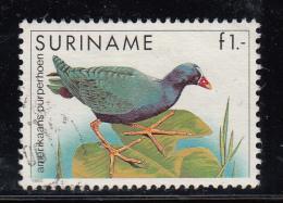 Surinam Used Scott #725 1g American Purple Fowl - Birds - Surinam