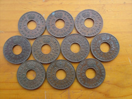 BRITISH EAST AFRICA  KUT ONE CENT COINS BRONZE Of 1959 H - TEN All The SAME USED (KN) Mint Mark. - British Colony