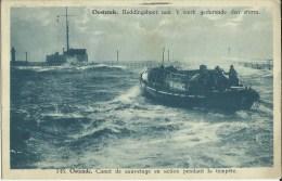 Ostende -- Canot  De  Sauvetage  En  Action  Pendant  La  Tempête.    ( 2 Scans ) - Oostende