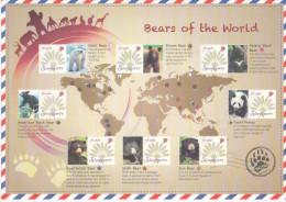 SINGAPORE ,2013, PERSONALIZED SHEETLET, BEARS OF THE WORLD, POLAR BEAR, PANDAS, NICE - Beren