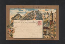 Litho-AK Alpen-Post 1900 Meran In Die Schweiz - Briefmarken (Abbildungen)