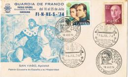11695. Carta Exposicion BARCELONA 1974 Y 1976. Falange Guardia Franco. SANTIAGO Apostol - 1931-Hoy: 2ª República - ... Juan Carlos I