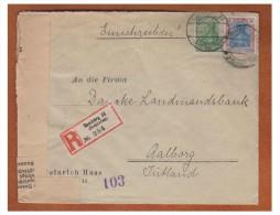 ## ALLEMAGNE ## LETTRE RECOMMANDEE DE HAMBOURG POUR AALBORG  ## LETTRE CENSUREE POUR LE JUTLAND DANOIS ##  ## - Briefe U. Dokumente