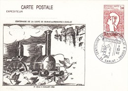 CARTE POSTALE DE 1982  CENTENAIRE LIGNE FERROVIAIRE SIORAC SARLAT - Sarlat La Caneda