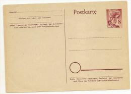Entier Carte Postale 8 P Carmin (occupation Francaise ) - Zone Française