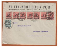 ## ALLEMAGNE ## PERIODE INFLATIONNISTE 10/1923 ## AFFRANCHISSEMENT A 15 MILLIONS DE MARK ## DE BERLIN POUR LA SUEDE ## - Deutschland