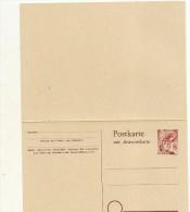 Entier Carte Postale Avec Reponse Payee  8 P Carmin (occupation Francaise ) Baden (Bade) - Zone Française