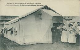 MAROC/Casablanca-La Visite Du Major à L'Hôpital De Campagne-Infirmières De La Société Des Secours Aux Blessés Militaires - Salute