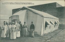 MAROC - La Visite Du Major à L'Hôpital De Campagne De Casablanca, Infirmières De La Société De Secours Aux Blessés Mil.. - Autres