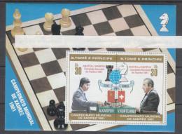 S. Tomé & Principe   -   1981.  Karpov  Campione Mondiale Di Scacchi. Karpov Chess World Champion. MNH Rare Sheet - Schaken