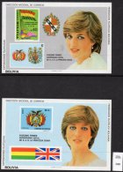 Bolivia Royalty Princess Diana 21st Birthday Pair Of M/s MNH  Heraldry Flag Bird Map - See Text