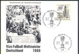 Germany 1966 Card: Football Fussball Soccer Calcio FIFA Giles Rimet; Deutschland Vizeweltmeister Cancellation - World Cup