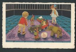Deux Enfants  Entourés  De Jouets! Train, Ballon, Poupée, Marionnette, éléphant... Tapis Bleu. S 361. - Jeux Et Jouets