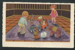 Deux Enfants Et Un Véritable étalage De Jouets! Train, Ballon, Poupée, Marionnette, éléphant... Tapis Orangé. S. 361. - Jeux Et Jouets