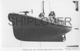 Vedette Du Cuirassé STRASBOURG (Marine Nationale) - Carte Photo éd. Marius Bar - Photo/bateau/schiff - Warships