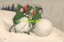 CPA ILLUSTRATEUR FLORENCE HARDY  ENFANTS NEIGE ** ARTIST SIGNED FLORENCE HARDY CHILDREN SNOW - Hardy, Florence