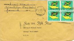 Jamaica 1968 Postal Cover Montego Bay - Chicago (USA) Jamaican Flag - Jamaique (1962-...)