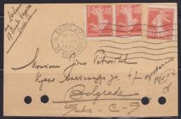 6696. France, 1921, Postal Stationery From Paris To Belgrade - Storia Postale