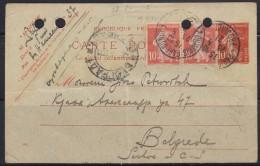 6697. France, 1921, Postal Stationery From Paris To Belgrade - Storia Postale
