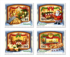 2014 Switzerland -Christmas / Weihnacht - 4 V S.adhesve - MNH** - Suiza