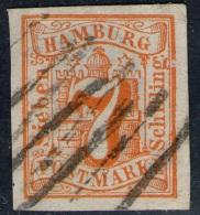 Strichstempel Auf 7 Shilling Orange - Hamburg Nr. 6 - Tief Geprüft - Pracht - Hambourg