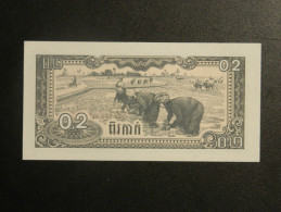 Billet - Cambodge - Valeur Faciale : 0,2 Riel - Jamais Circulé - Année 1979 - Motif : Travaux Au Champ Et Armoiries - Cambodia