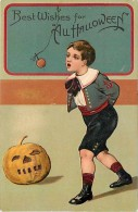 236097-Halloween, PFB No 9422-1, Boy With Hands Tied Behind His Back Trying To Bite Apple On A String, Jack O Lantern - Halloween