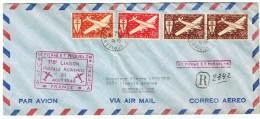 1948  Première Liaison Aérienne  SPM - Canada - USA   PA 4, 5, 6 X2 - Poste Aérienne