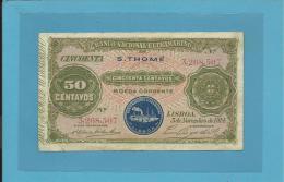 SAINT THOMAS And PRINCE - RARE - 50 CENTAVOS - 05.11.1914 - P 15 - STEAMSHIP SEAL TYPE II - PORTUGAL - São Tomé U. Príncipe