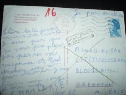CP POUR ALGERIE TP LIBERTE DE GANDON 3,00 OBL.MEC.19-7-1985 ST MAXIMIN (60 OISE) + GRIFFE DE RETOUR - 1982-90 Liberty Of Gandon