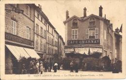 39 - SAINT-AMOUR - Jura - La Place Des Quatre-Vents - Café Charnay - Café De La Renaissance - Other Municipalities
