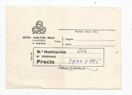 Facture , HOTEL CARLTON RIOJA , LOGRONO - Sin Clasificación