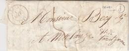 LAC 1847. GIRONDE CREON. BOITE RURALE  J = ENVOYEE DE CENAC. TAXE PLUME 5 / 5510 - Storia Postale