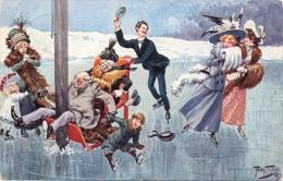 Schlittschuhläufer, Scherz-AK, Sign. Arthur Thiele - Thiele, Arthur