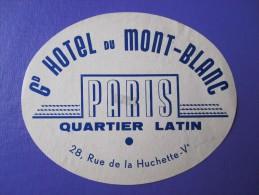 HOTEL AUBERGE MONT BLANC PARIS FRANCE DECAL STICKER VINTAGE LUGGAGE LABEL ETIQUETA ETICHETTA ETIQUETTE AUFKLEBER - Etiquettes D'hotels