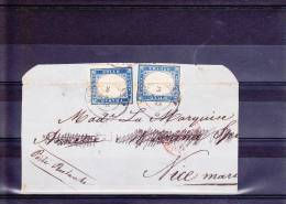 1861 - RARE ENVELOPPE (INCOMPLETE) De SESTRI LEVANTE Pour NICE POSTE RESTANTE - - Sardinia